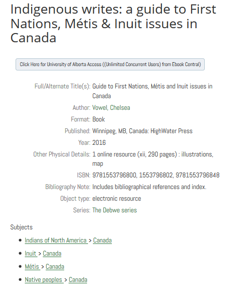 "A screencapture of subject metadata of the book Indigenous Writes by Chelsea Vowel. Includes ""Indians of North America - Canada"""