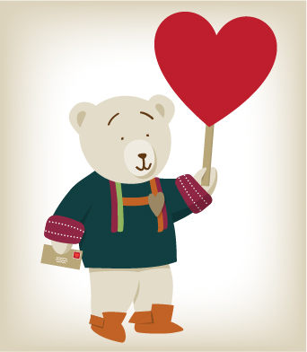 An illustrated bear in First Nations sweater and moccasins holding a heart balloon