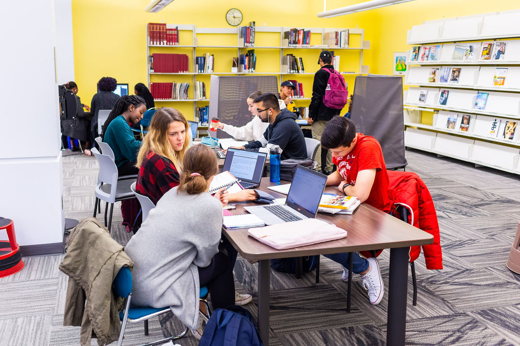 Students studying together in a common area of the library