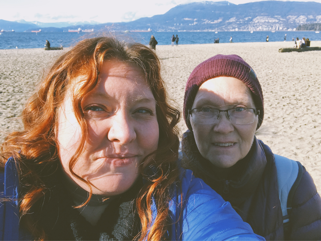 Hanne takes a selfie with her mom at Kitts Beach.