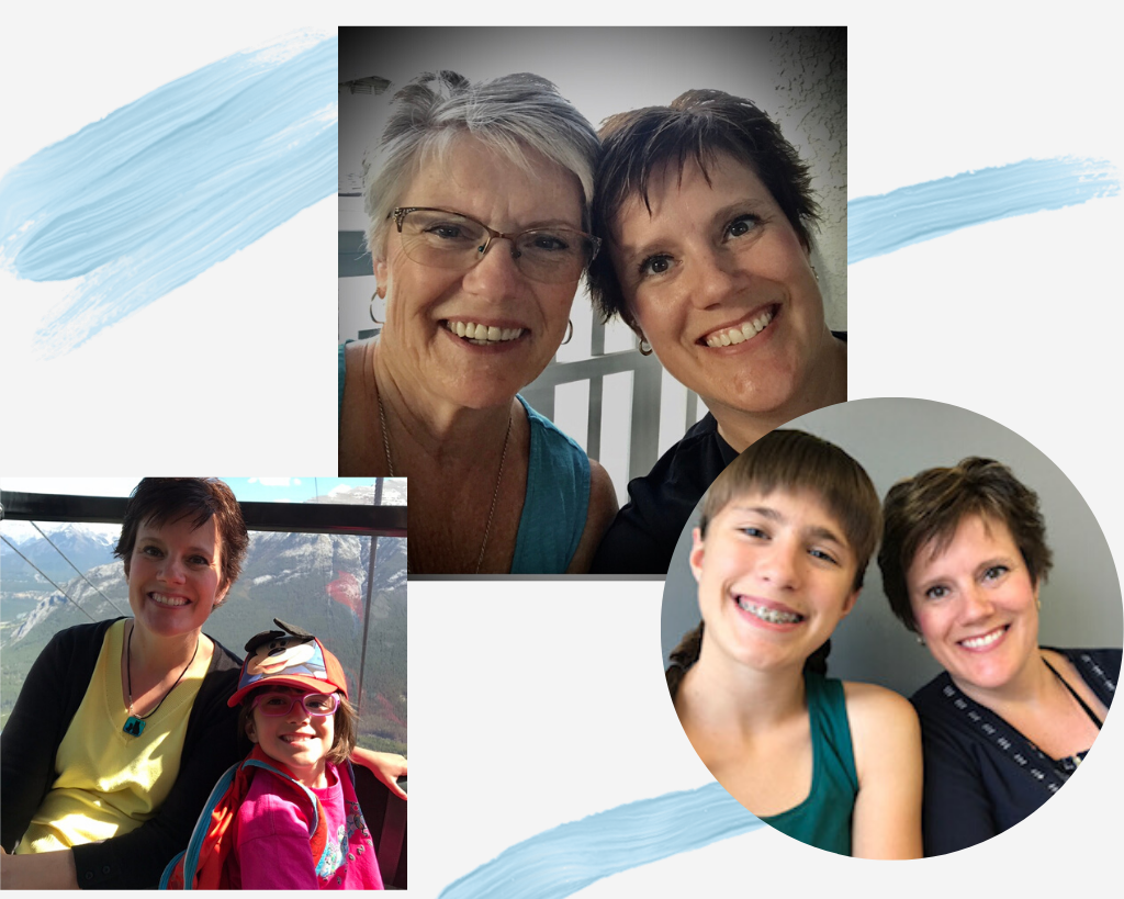 Collage of photos of Shawna and her Mother and daughters.