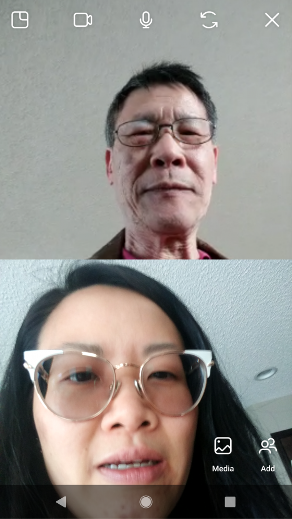 Sonya and Yan on a video call.