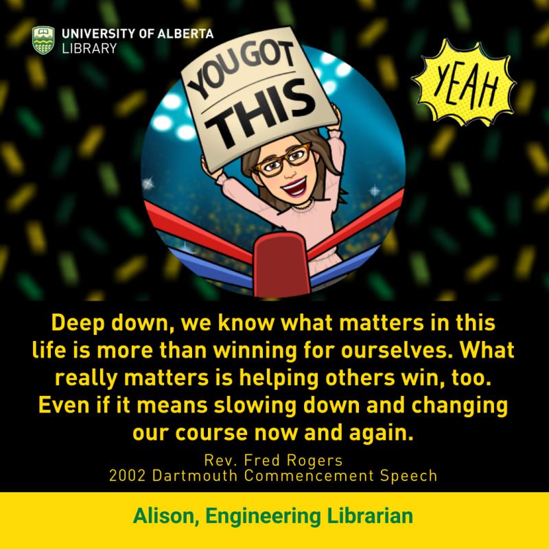 UAlberta Librarian Alison's 'You got this' Bitmoji