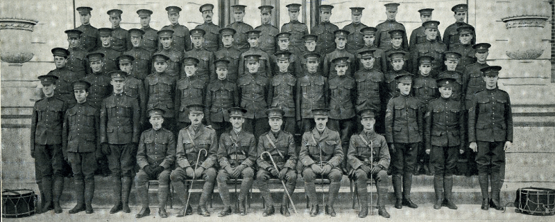 Four rows of soldiers stand on the steps in front of a University of Alberta building, facing the camera.