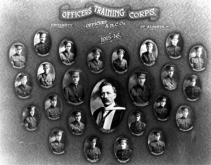 Group of portrait photos of University of Alberta Officers Training Corps, Officers and N.C.O.'s.