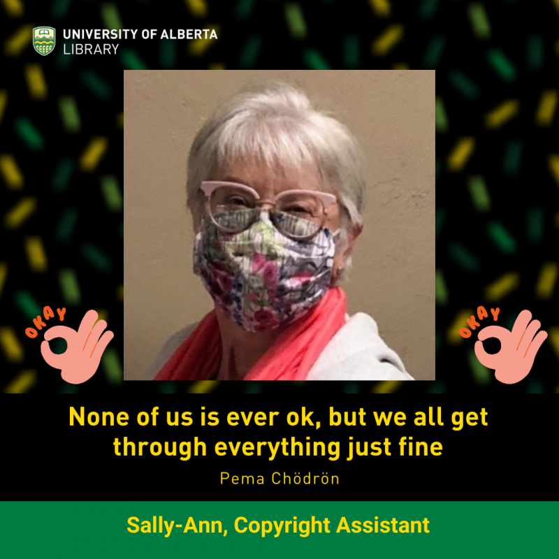 UAlberta Copyright Assistant Sally-Ann wears a non-medical Mask
