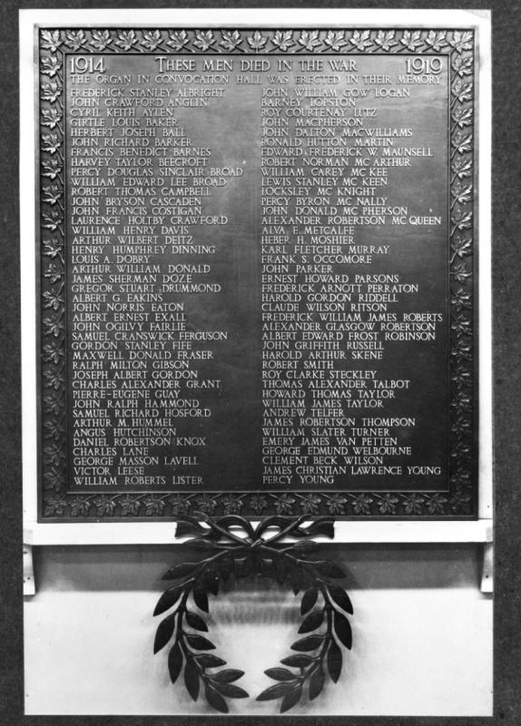 Photo of the War Memorial Plaque.
