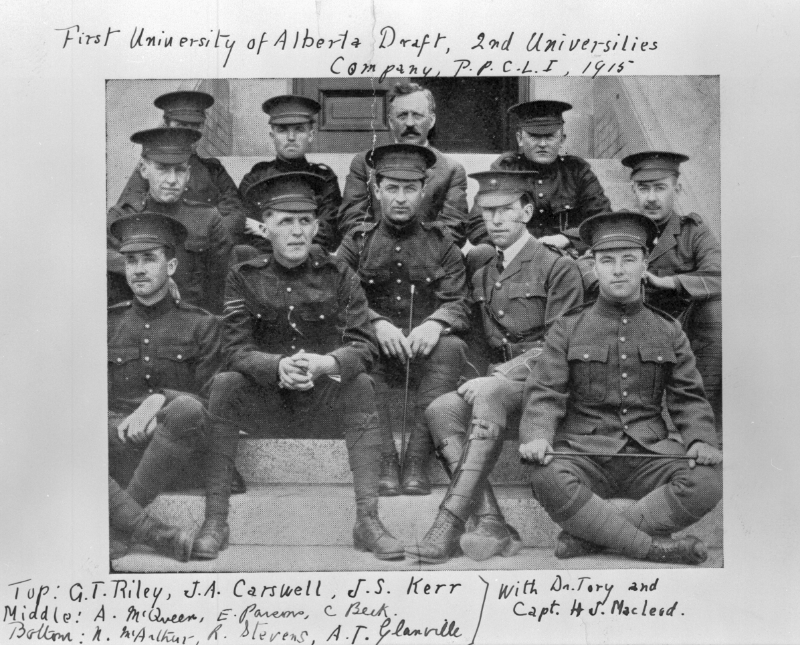 Photo of first University of Alberta draft with hand writing around the photo. Hand writing reads top: G.T. Riley, J.A. Carswell, J.S. Kerr middle: A. McQueen, E. Parcov, C. Beck Bottom: A. McArthur, R. Stevens, A.T. Glanville with Dr. Tory and Capt. H.S. Maclead.